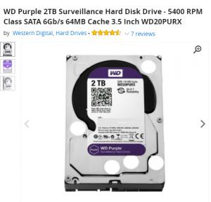 WD Purple 2TB For DVR 4Port & 8port