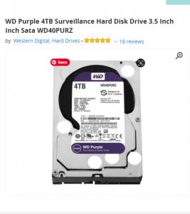 WD Purple 4TB For DVR 16 Port